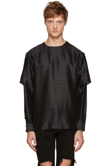 Christian Dada - Black Raw Edge Layered Top