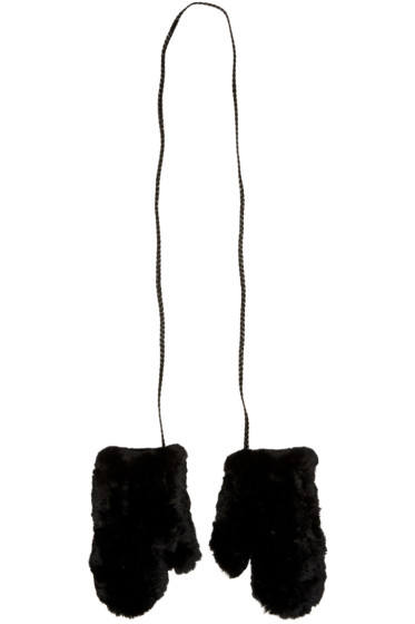 Yves Salomon - Black Rabbit Fur Mittens