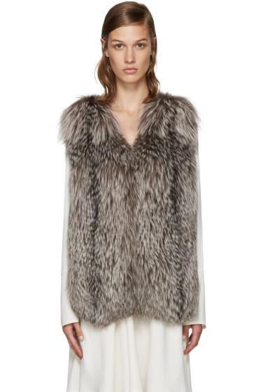 Yves Salomon - Brown Knit Fur Vest