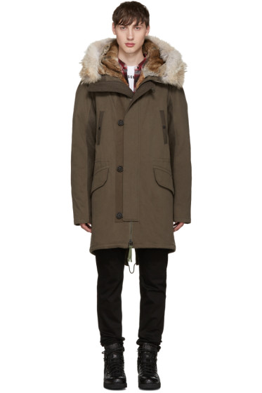 Yves Salomon - Green Fur-Lined Parka