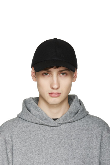 Larose - Black Lambswool Baseball Cap