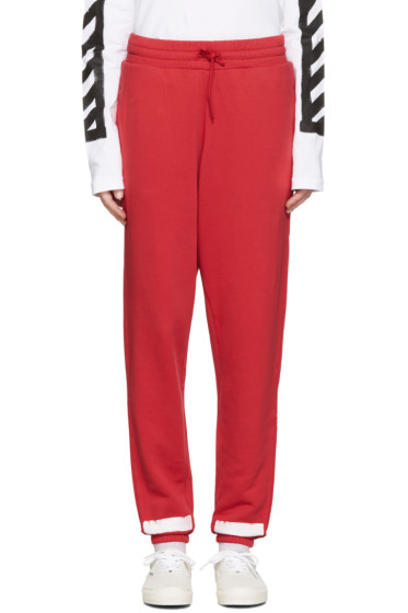Off-White - Red Brushed Diagonals Lounge Pants