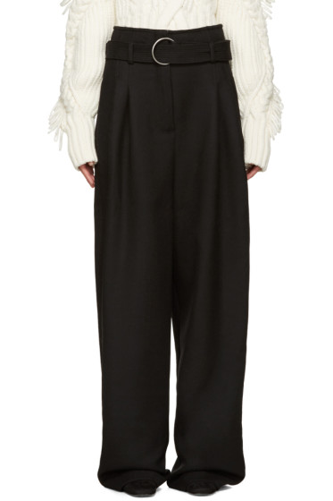 Off-White - Black Wool Belted Trousers