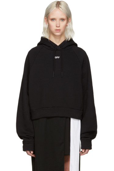 Off-White - Black Cropped Logo Hoodie