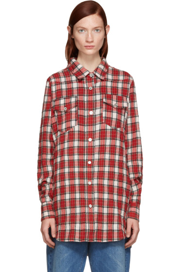 Off-White - Red Flannel Plaid Shirt