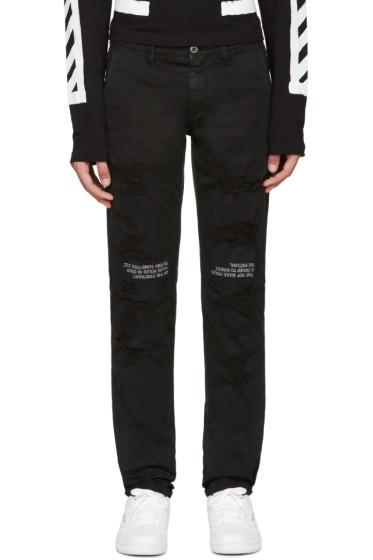 Off-White - Black Distressed Chinos