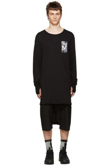 11 by Boris Bidjan Saberi - Black Asymmetric Back Print T-Shirt