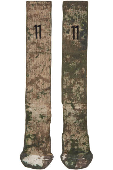 11 by Boris Bidjan Saberi Green Camo Wash Socks