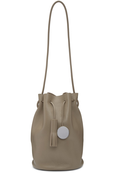 Building Block - SSENSE Exclusive Taupe Tassel Bucket Bag