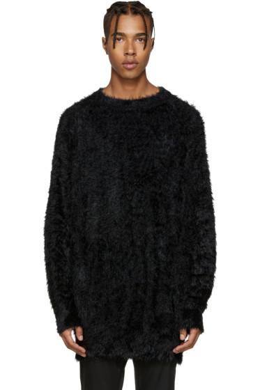 Diet Butcher Slim Skin - Black Oversized Shaggy Pullover