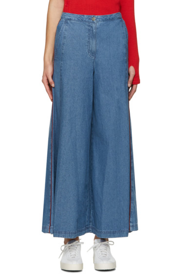 SJYP - Blue Wide Flared Jeans