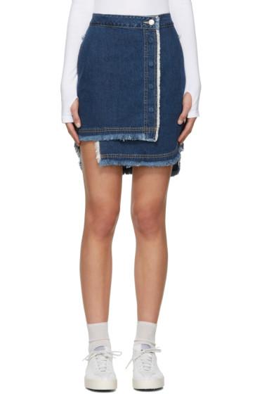 SJYP - Indigo Denim Unbalanced Miniskirt