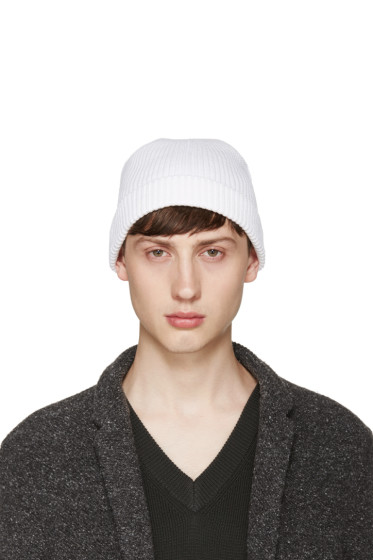 Lemaire - White Ribbed Beanie