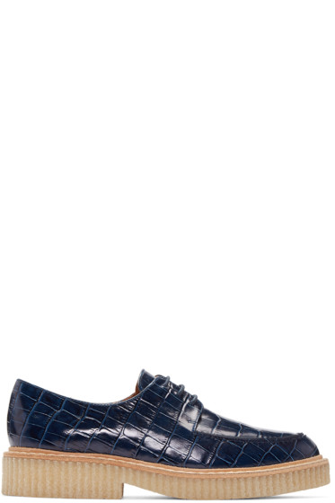 Flamingos - Navy Croc-Embossed Franklin Oxfords