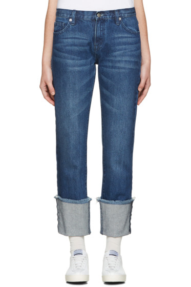 Edit - Blue Denim Turn Up Boyfriend Jeans