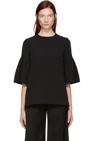 Edit - Black Crepe Flute Sleeves Blouse