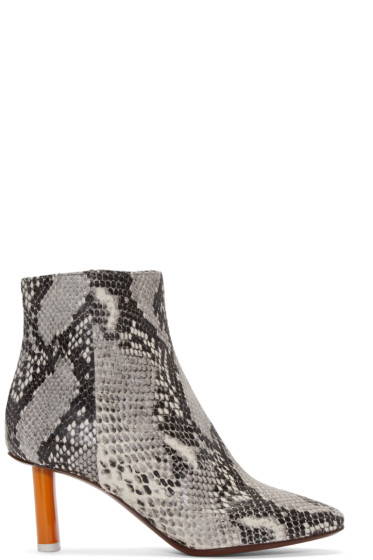 Vetements - Grey Snakeskin-Embossed Ankle Boots