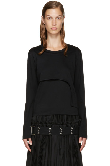 Noir Kei Ninomiya - Black Asymmetric Layered T-Shirt