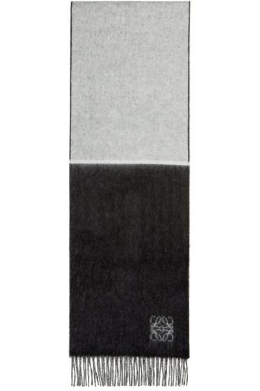 Loewe - Black & White Wool Angora Scarf