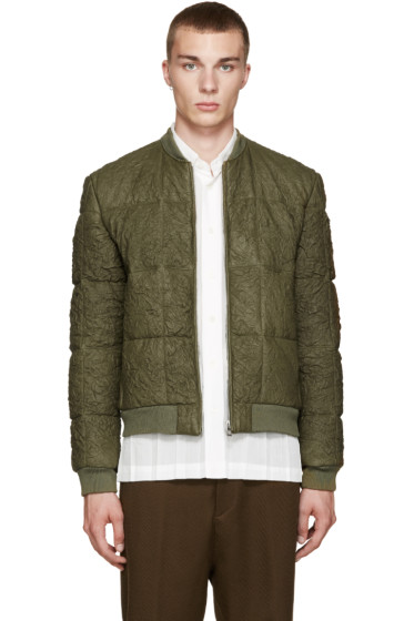 Loewe - Green Lambskin Quilted Bomber Jacket