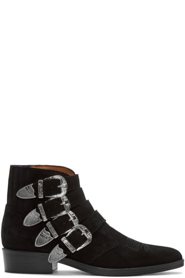 Toga Virilis - Black Suede Western Buckle Boots