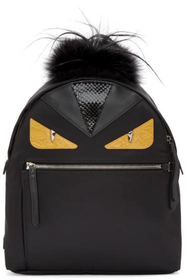 Fendi - Black Nylon Eyes Medium Backpack
