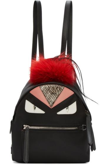 Fendi - Black Mini Eyes Backpack