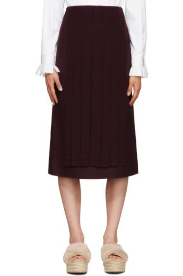 Fendi - Burgundy Pleated Panel Skirt