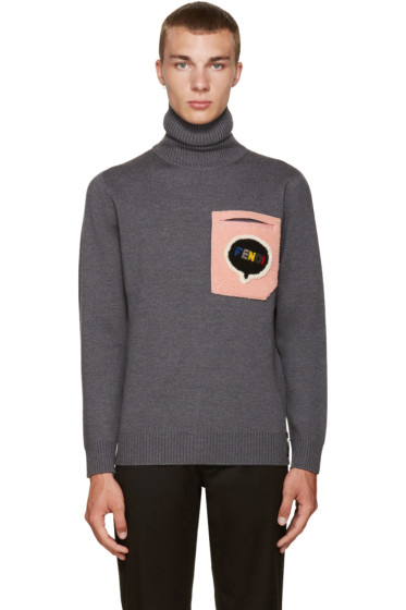 Fendi - Grey Shearling Pocket Turtleneck