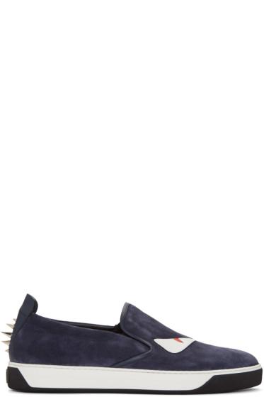 Fendi - Navy Studded Monster Sneakers
