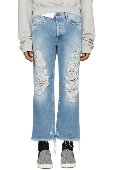 Palm Angels - Blue Distressed Jeans