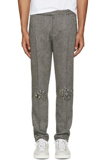 Palm Angels - Grey Distressed Herringbone Trousers