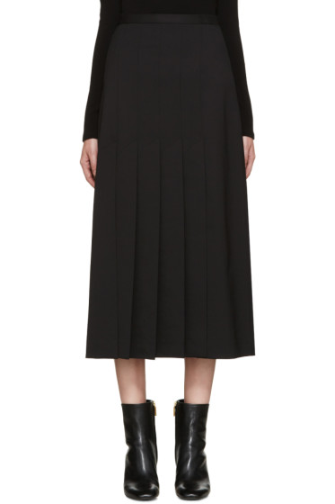 Rosetta Getty - Black Wool Pleated Skirt