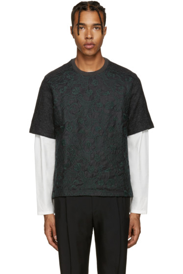 Wooyoungmi - Grey Embroidered Wool T-Shirt