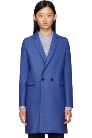 Harris Wharf London - Blue Wool Double-Breasted Coat