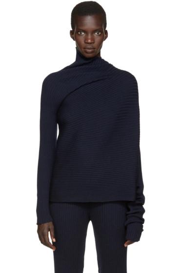 Marques Almeida - Navy Wool Asymmetric Turtleneck