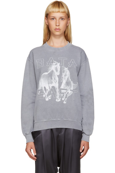 Baja East - Grey Logo Horse Sweatshirt