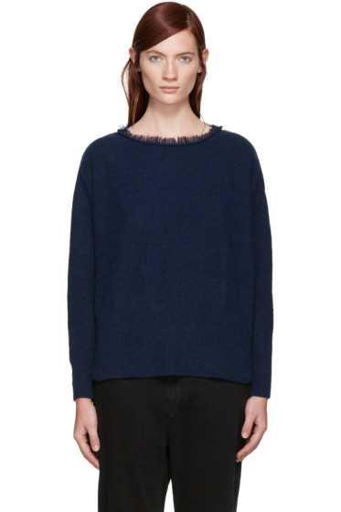 Y's - Blue Fringed Collar Sweater
