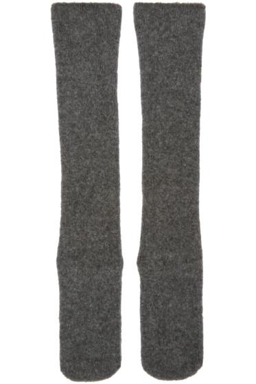 Isabel Benenato - Grey Knit Merino Socks
