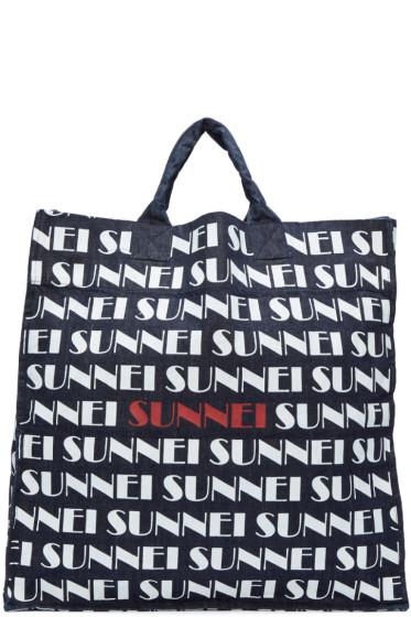 Sunnei - Navy Denim Logo Shopping Tote