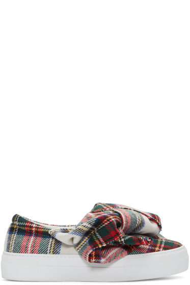 Joshua Sanders - White Tartan Bow Slip-On Sneakers
