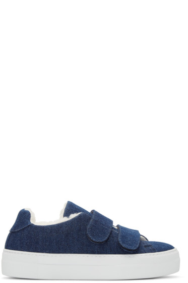 Joshua Sanders - Navy Denim & Shearling Sneakers