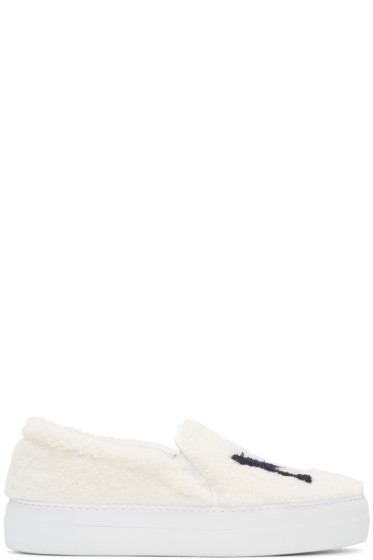 Joshua Sanders - White Shearling 'NY' Slip-On Sneakers