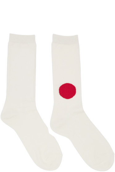 Blue Blue Japan - Off-White Japanese Flag Socks
