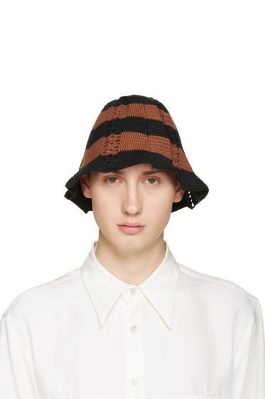 Wales Bonner - Black & Brown Crochet Karim Hat