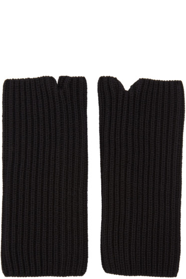 Hyke - Black Wool Wrist Warmers