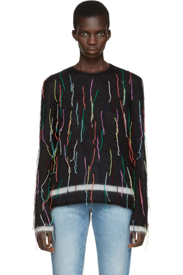Ports 1961 - Black Mohair Fringed Sweater
