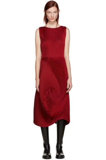 Issey Miyake - Red Pleated Dress