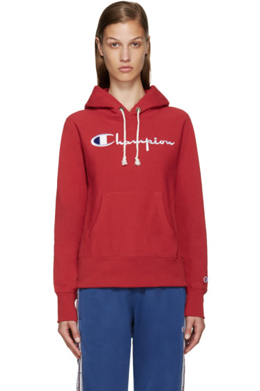 Champion Reverse Weave - Red Logo Hoodie