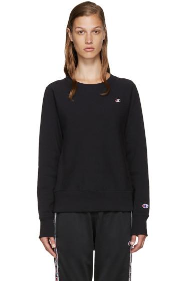 Champion Reverse Weave - Black Small Logo Pullover